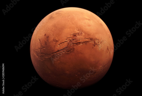 Fototapeta Planet Mars, in red rusty color, on a dark background
