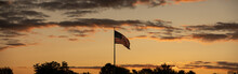 American Flag In A Vibrant Sunset Panorama