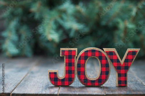 The Word JOY with a tree and wood background Fototapet