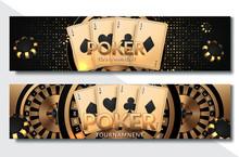 Poker Casino Horizontal Banner Set. Vector Illustration
