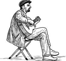 Sketch Of Sitting Street Music...