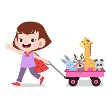 Happy Kid Girl Pulling Wagon Toys Pet Vector