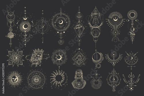 Vector illustration set of moon phases Poster Mural XXL