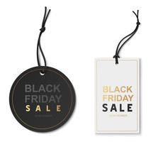 Black Friday Sale Tags Isolated On White. Vector Illustration