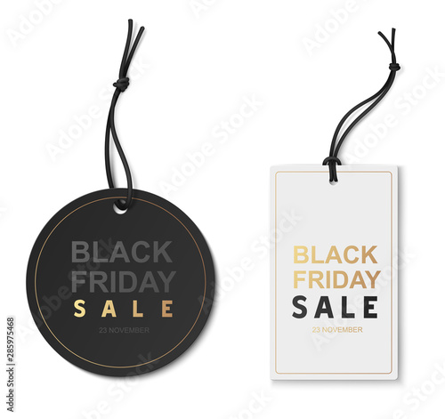 Stampa su Tela  Black friday sale tags isolated on white. Vector illustration