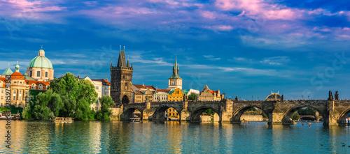Recess Fitting Prague View of dowtown Prague with Charles Bridge over Vltava