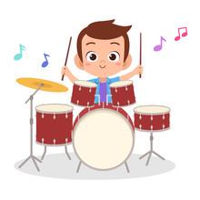 Happy Kid Play Drum Music Vector