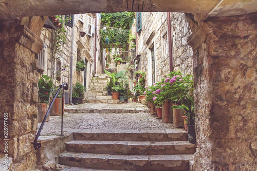 mediterranean-summer-cityscape-view-of-a-medieval-street-with-stairs-in-the-old-town-of-dubrovnik-on-the-adriatic-sea-coast-of-croatia