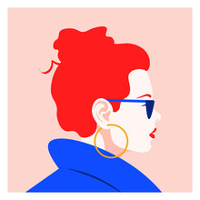Profile Of A Fashionable Red-h...