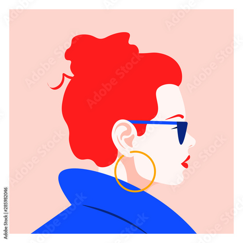 Profile of a fashionable red-haired girl. Female face on the side. Bright avatar for a social network. Vector flat illustration