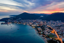 Aerial View Of Budva, Montenegro On Adriatic Coast After Sunset.