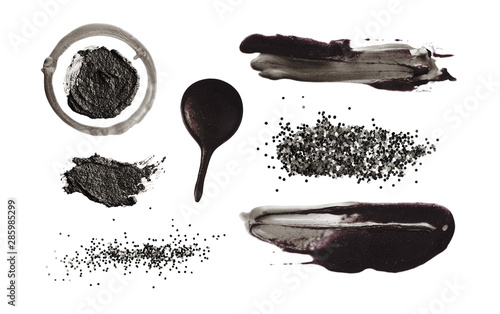 Black smear Brush stroke on white. Abstract background. Blot Collection. Isolated.