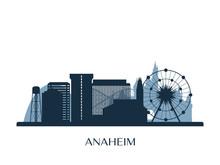 Anaheim Skyline, Monochrome Silhouette. Vector Illustration.