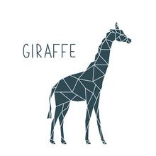 Polygonal Giraffe Illustration. Vector Wild Animal Poster.