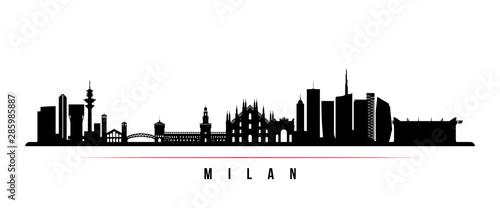 Fotografie, Obraz Milan City skyline horizontal banner