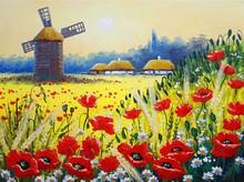 Oil Paintings Rural Landscape, Old Village.  Fine Art, Artwork, Landscape With Poppies