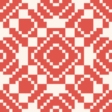 Vector Geometric Traditional Folk Ornament. Red And White Seamless Pattern