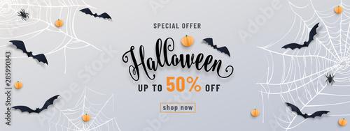 Fotografie, Tablou Halloween sale banner, party invitation concept background