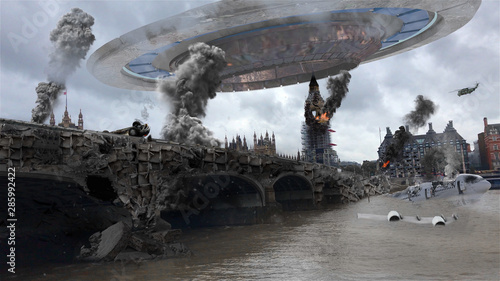 Photographie Alien Spaceship Invasion Over Destroyed London City Illustrattion