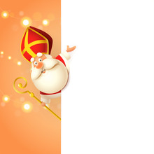 Saint Nicholas Sinterklaas On Left Side Of Board - Happy Cute Character Celebrate Holiday - Poster Template