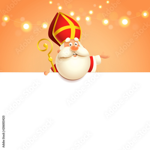 Saint Nicholas on board - happy cute character - poster template Canvas Print