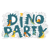 Fototapeta Dinusie - Dinosaur character vector illustration in flat cartoon scandinavian style with DINO PARTY lettering. Childish design for birthday invitation or baby shower, poster, clothing, nursery wall art and card