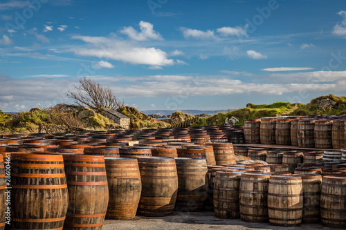 Fotografering Rows of used whiskey barrels of graduating sizes sit in front of windswept coast