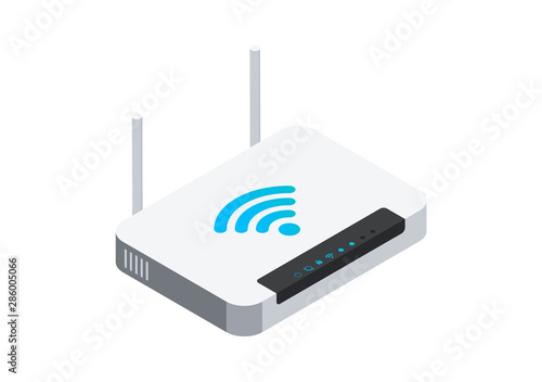 Fotografía  Isometric network wi-fi router with two antennas