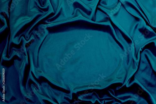 Foto  Photograph of silk fabric, color blue