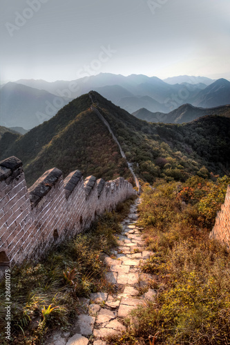 Grass and bushes threaten to take over the last remaining bricks on the unrestored section of the great wall of China Canvas Print