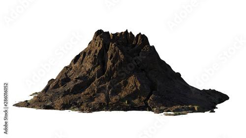 volcano, mountain model isolated on white background Tapéta, Fotótapéta