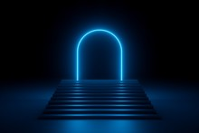 3d Render, Abstract Neon Background, Glowing Blue Rounded Arch, Stairs, Steps, Performance Stage Design, Empty Fashion Podium, Ultraviolet Light