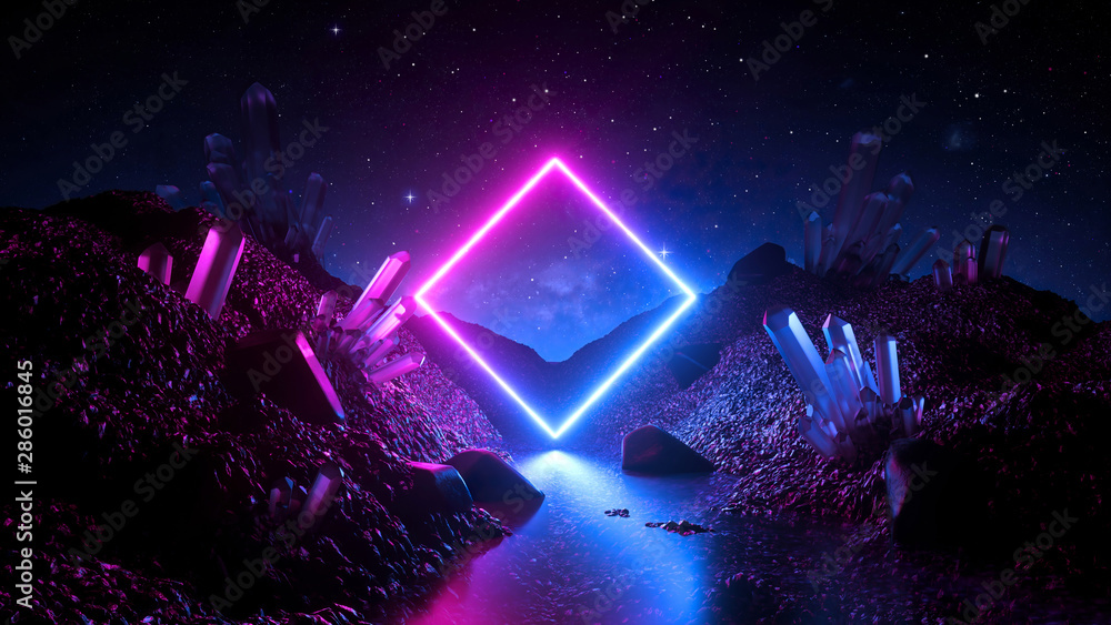 Fototapeta 3d render, abstract neon background, mystical cosmic landscape, pink blue glowing ring over terrain, square frame, virtual reality, dark space, ultraviolet light, crystal mountains, rocks, ground