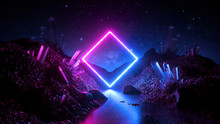 3d Render, Abstract Neon Background, Mystical Cosmic Landscape, Pink Blue Glowing Ring Over Terrain, Square Frame, Virtual Reality, Dark Space, Ultraviolet Light, Crystal Mountains, Rocks, Ground