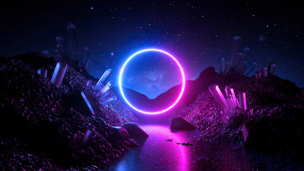 3d render, abstract neon background, mystical cosmic landscape, pink blue glowing ring over terrain, round frame, virtual reality, dark space, ultraviolet light, crystal mountains, rocks, ground
