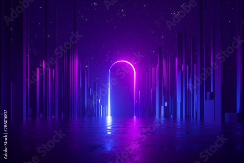 Fototapeta 3d render, abstract neon background, mysterious landscape with pink blue glowing arc, ultraviolet light, virtual reality obraz