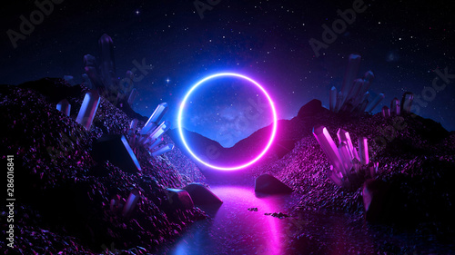 Fototapeta 3d render, abstract neon background, mystical cosmic landscape, pink blue glowing ring over terrain, round frame, virtual reality, dark space, ultraviolet light, crystal mountains, rocks, ground obraz