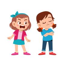 Kid Bully Friend Bad Behavior Vector