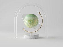 3d Abstract Composition, Onyx Globe On White Background, Glass Arch, Planet Concept, Green Stone Polished Ball, Marble Texture, Clean Minimalist Design, Sophisticated Decor, Modern Object