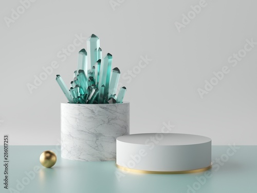 Fototapeta  3d abstract minimal background, aquamarine blue crystal nugget, marble cylinder