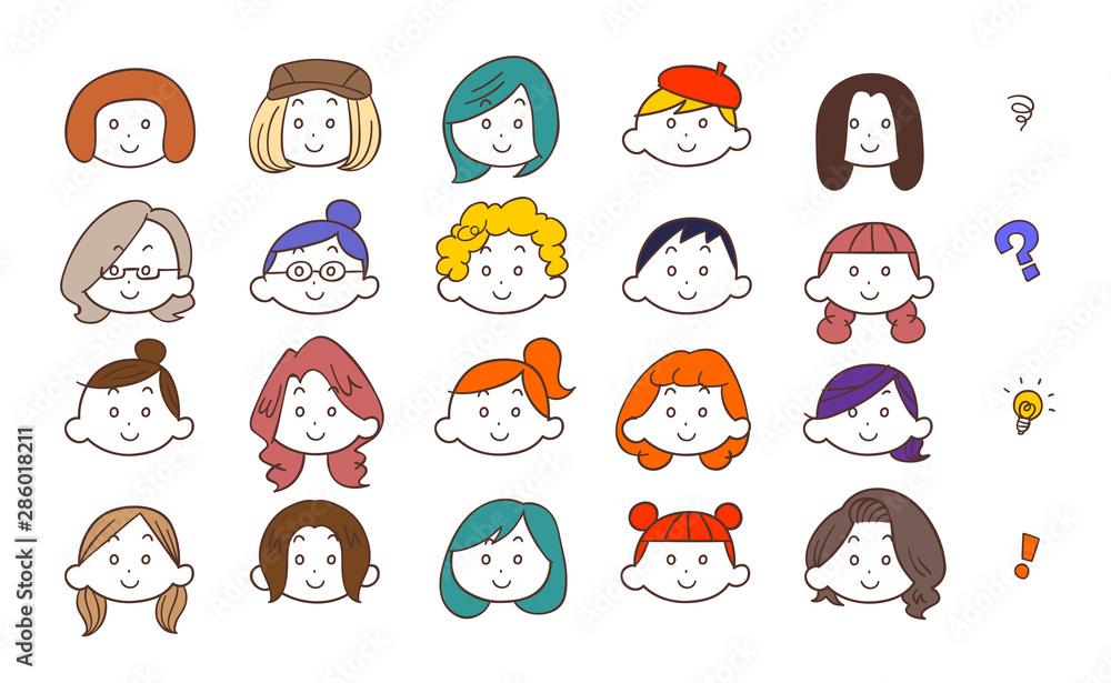 Fototapeta 20種類の若い女性の顔