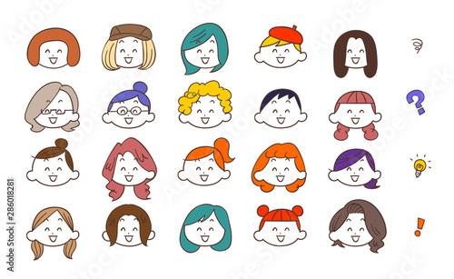 Cuadros en Lienzo 20種類の若い女性の笑顔