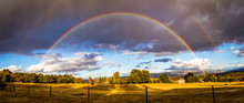 Double Rainbow Over A Dry Grass Horse Pasture In Southern Oregon