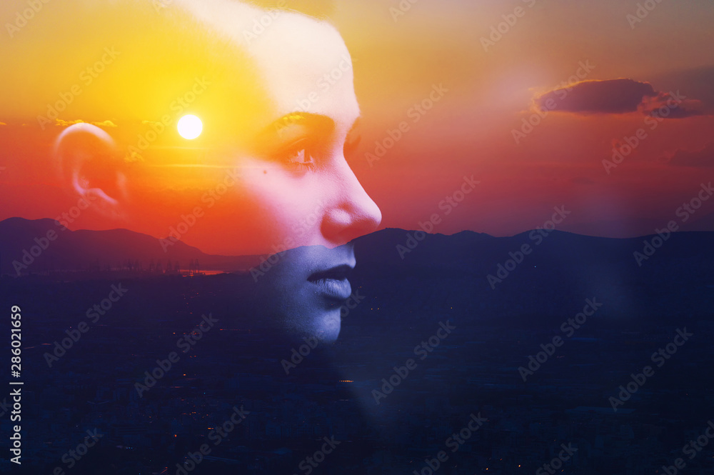 Fototapeta Double multiply exposure abstract dark portrait of a dreamy cute young woman face head silhouette in sky, sunrise or sunset nature. Psychology power of mind, human spirit, mental health, zen concept.