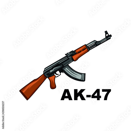 ak-47 vector. gun isolated on white background Canvas Print