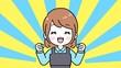 canvas print picture - 笑顔で喜ぶエプロン姿の女性(茶髪ボブ) あっぱれ