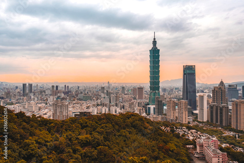 Skyline of Taipei cityscape Taipei 101 building of Taipei financial city ,Taiwan Canvas Print
