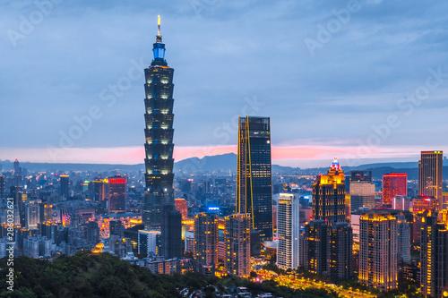 Skyline of Taipei cityscape Taipei 101 building of Taipei financial city ,Taiwan Wallpaper Mural