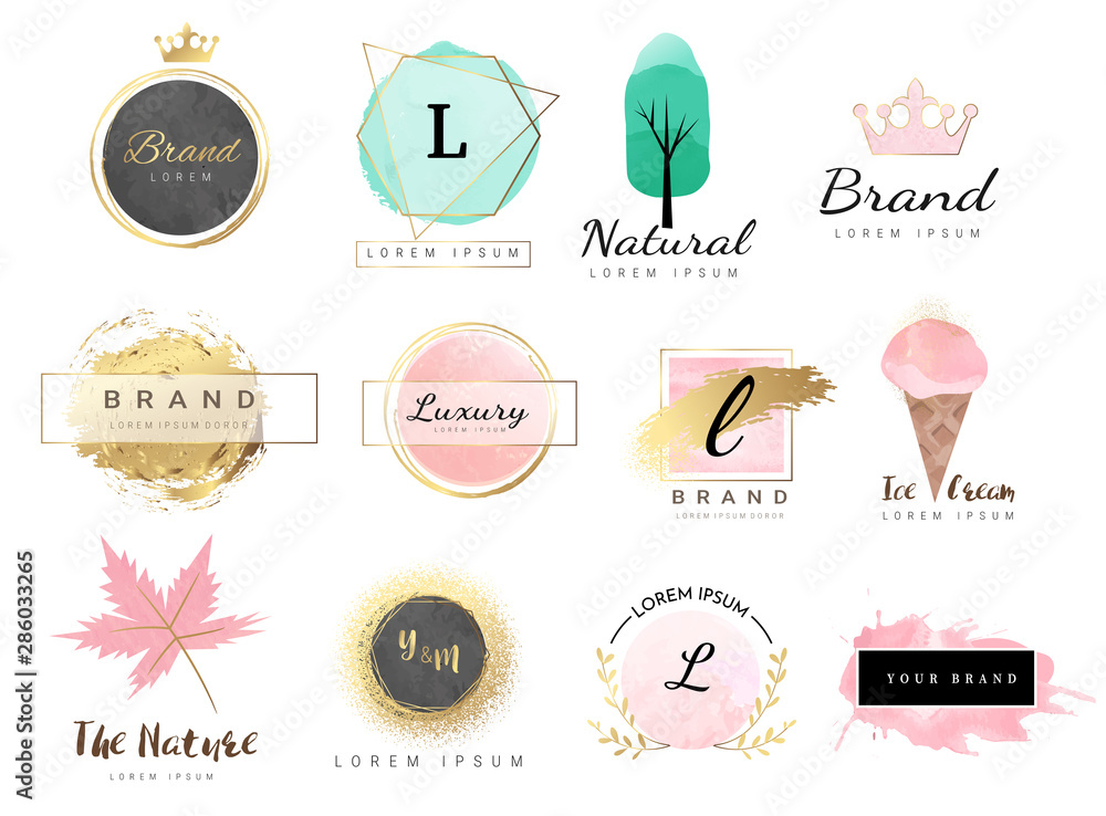 Fototapety, obrazy: Logo watercolor background banner for wedding,luxury  logo,banner,badge,printing,product,package.vector illustration