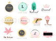 Logo watercolor background banner for wedding,luxury  logo,banner,badge,printing,product,package.vector illustration